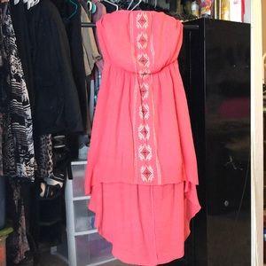 Aztec design High low dress L Strapless